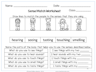 The Five Senses Worksheets Grade 1
