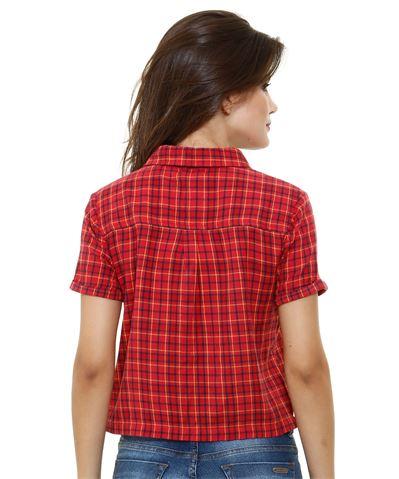 Moda marisa Camisa feminina manga curta estampa xadrez Marisa
