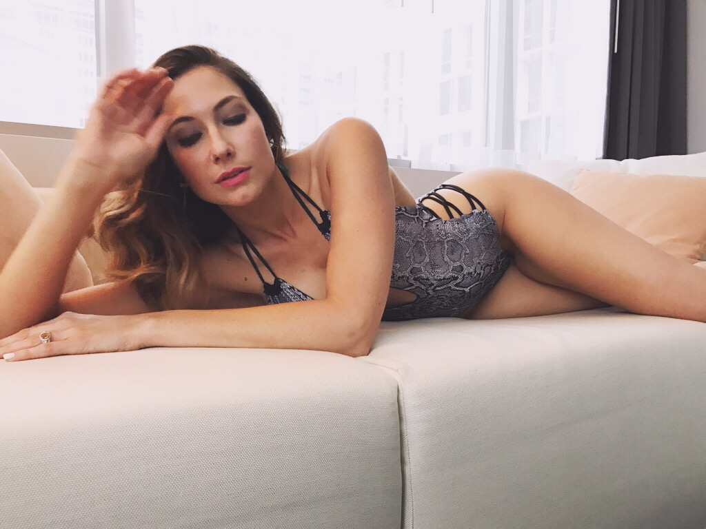Amy West wearing swimwear by Lisa Kaminski