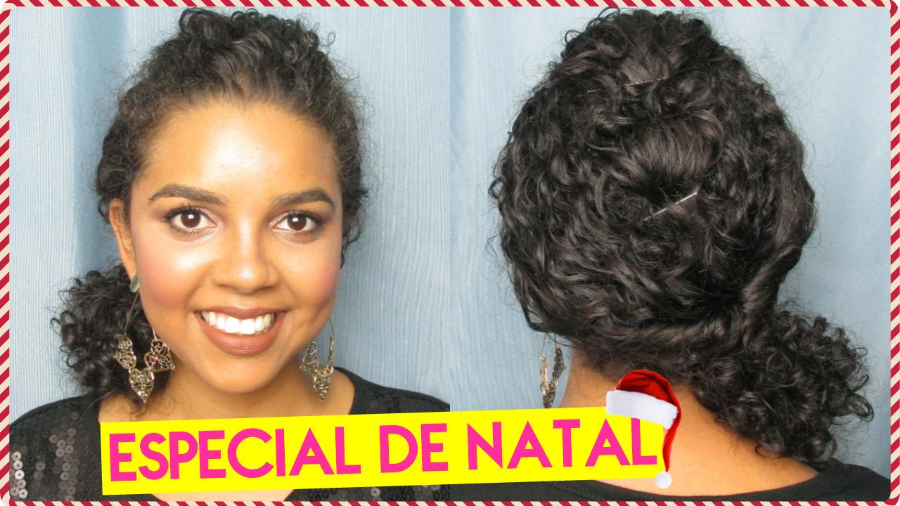 Maquiagem e penteado para usar no Natal, penteado para cabelo cacheado curto, penteado de Natal, Natália Sena