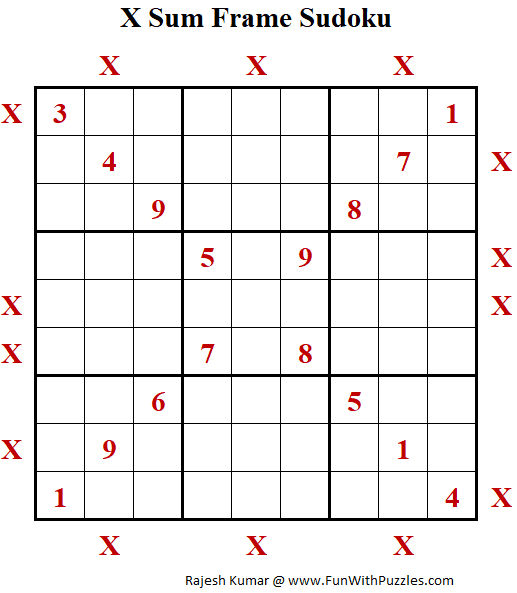 X Sum Frame Sudoku Puzzle (Daily Sudoku League #211)