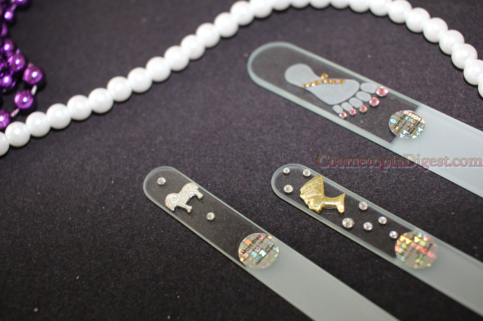Glass nail files from Mont Bleu with Swarovski crystals.