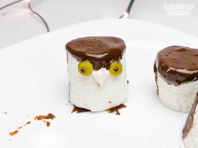 Пингвин из маршмеллоу (или сова) в шоколаде
