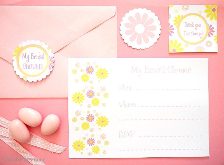 Pink & Yellow Flowers Free Bridal Shower Party Printables - BirdsParty.com