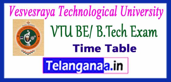 VTU Vesvesvaraya Technological University BE/B.Tech 7th Semester Exam Time Table 2017-18