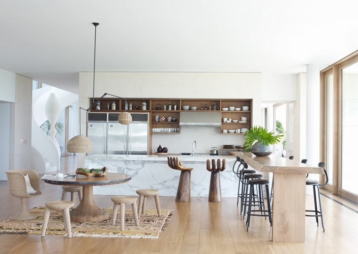 Kitchen in Modern Mansion in Southampton by Sawyer and Berson