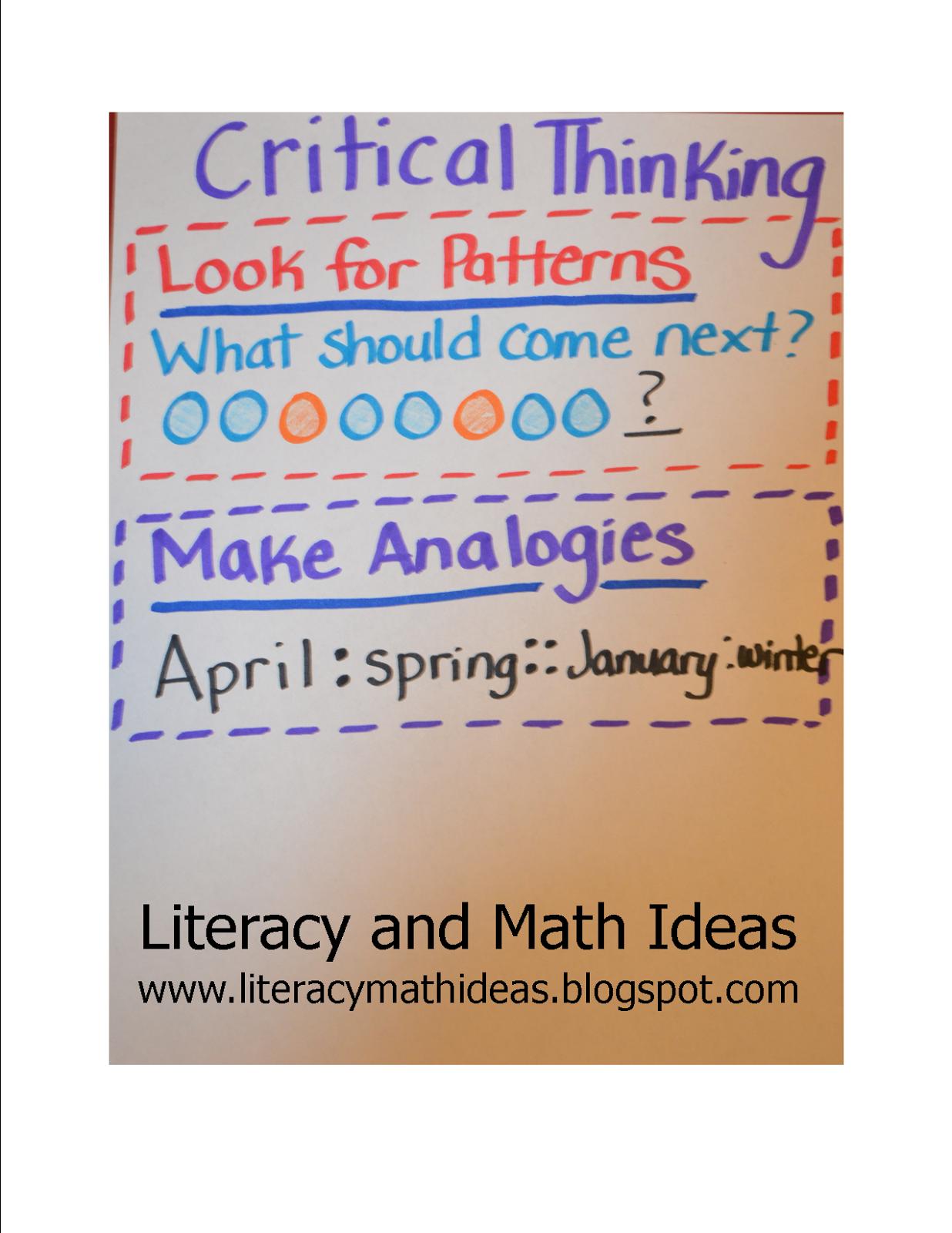 Literacy Amp Math Ideas Critical Thinking