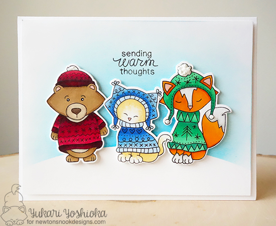 Animals in Sweaters Card by Yukari Yoshioka | Sweater Weather Stamp Set by Newton's Nook Designs #newtonsnook