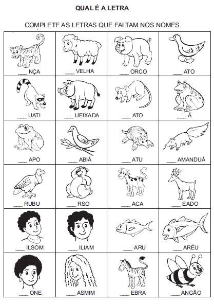 Complete a letra inicial e Atividades Educativas