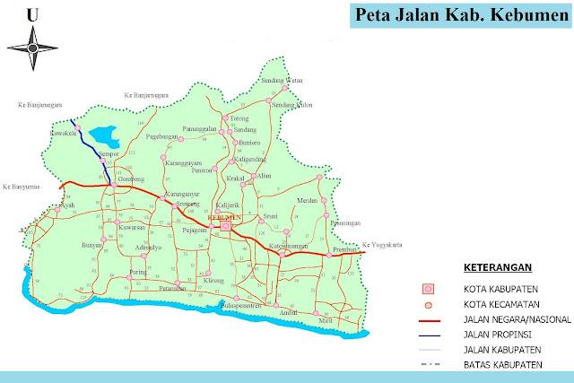 Peta Kabupaten Kebumen HD Lengkap