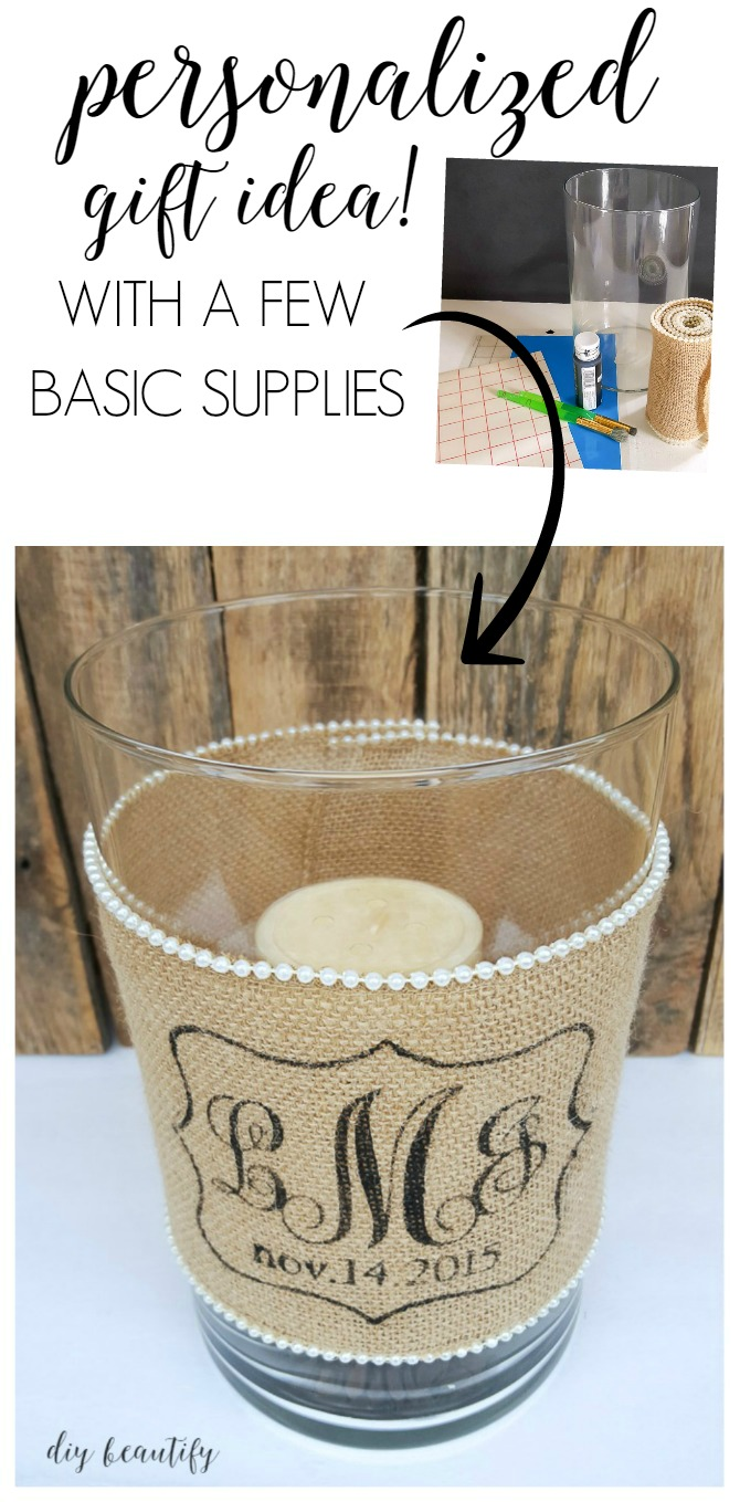 Save money and make your own beautiful, personalized wedding gifts like this burlap monogram candle holder! Find the tutorial at diy beautify!
