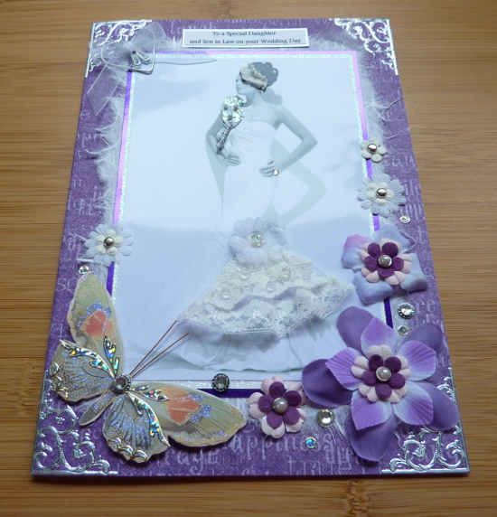 Purple and lilac handmade wedding card