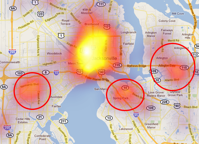Florida Map Jacksonville.Jacksonville Fl Heat Map Spotcrime The Public S Crime Map