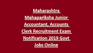Maharashtra Mahapariksha Junior Accountant, Accounts Clerk Recruitment Exam Notification 2019 Govt Jobs Online