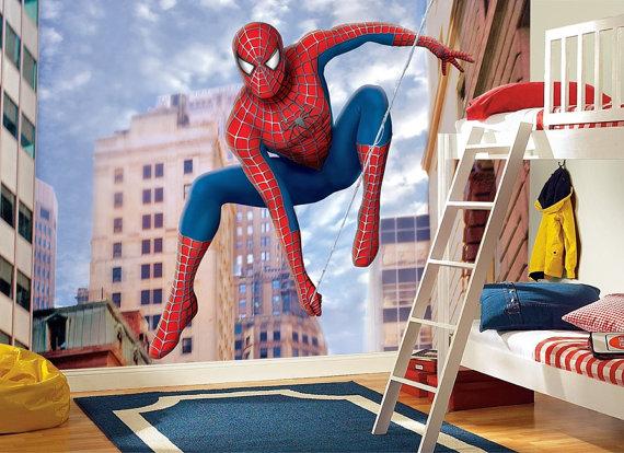 Spiderman Wall Mural Kids Room Marvel