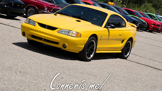 Yellow Ford Mustang arriving