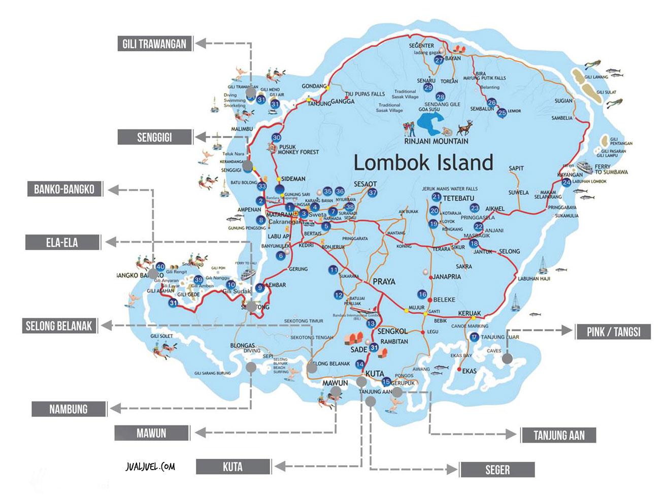 Lokasi 10 pantai terindah di lombok