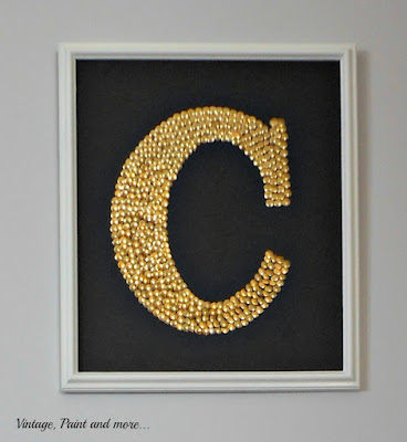 Vintage, Paint and more... monogram wall art diy'd  with gold thumbtacks