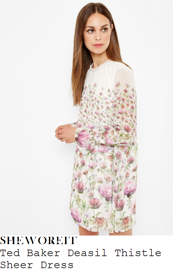 kim-murray-ted-baker-deasil-white-cream-purple-and-green-thistle-floral-print-long-sleeve-sheer-overlay-shift-dress