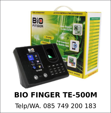 Supplier Mesin Absensi Bio Finger TE-500M Asli