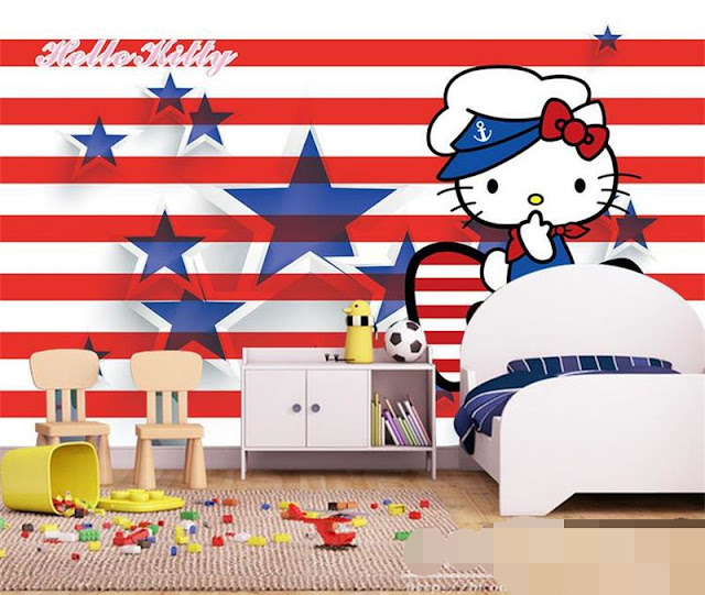Hello Kitty wall mural stripes stars wallpaper kid bedroom children girl wallpaper baby mural