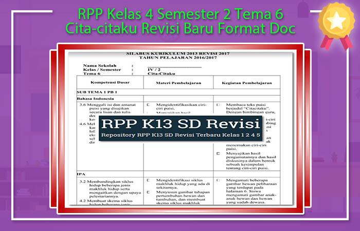 RPP Kelas 4 Semester 2 Tema 6 Cita-citaku