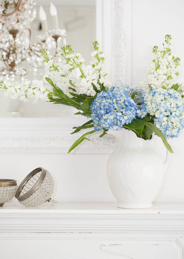white decorating with flowers