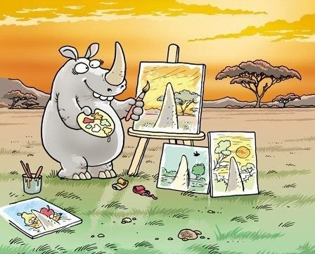 Funny Rhinoceros Cartoon Picture Artist