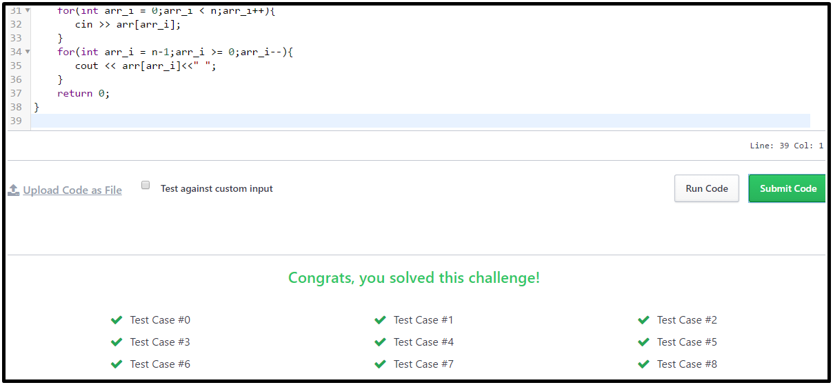 Hackerrank Solution For Day 7: Arrays output