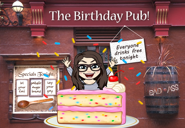 image of the exterior of a pub which has been photoshopped to be named 'The Birthday Pub!', in front of which is a cartoon version of me jumping out of a birthday cake