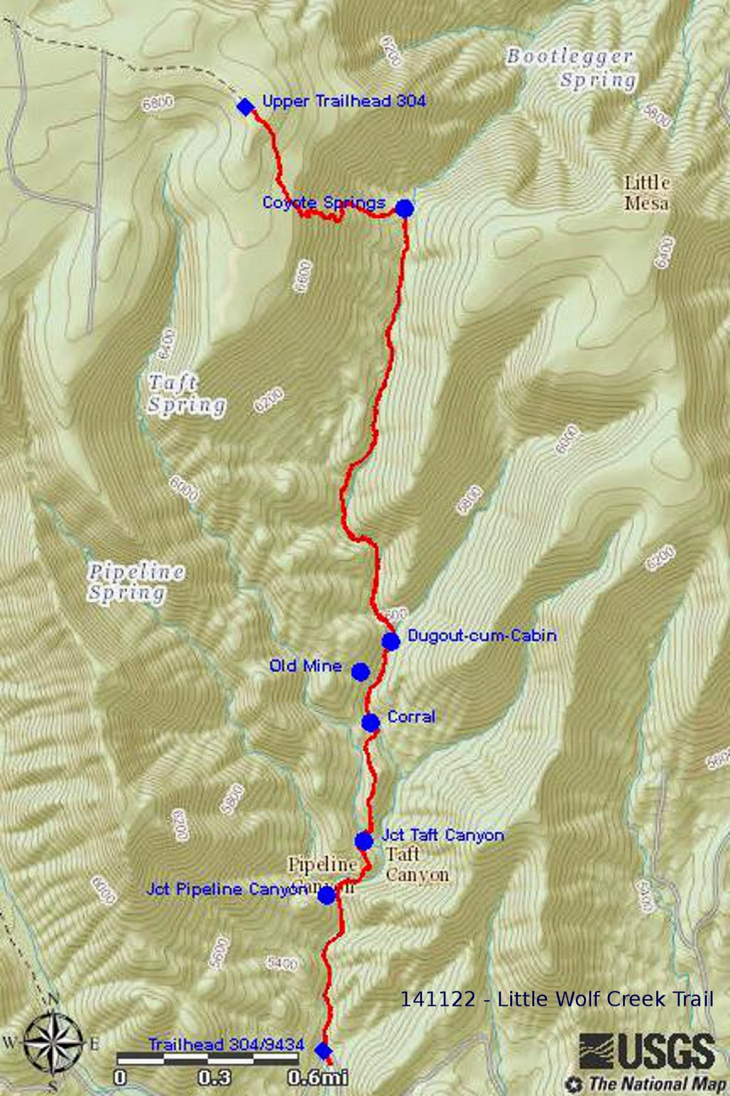 note that both pipeline canyon and taft canyon feed in from the northwest also note that taft canyon runs parallel to little wolf creek canyon for a