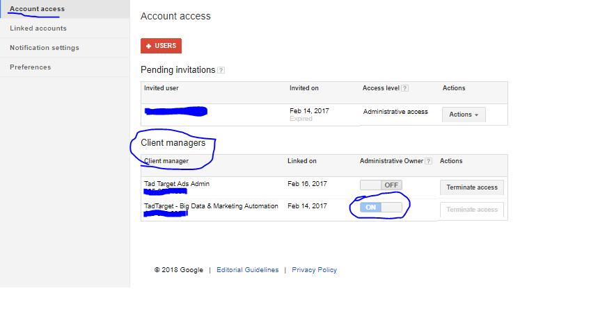 Acesso de conta pelo Google Adwords