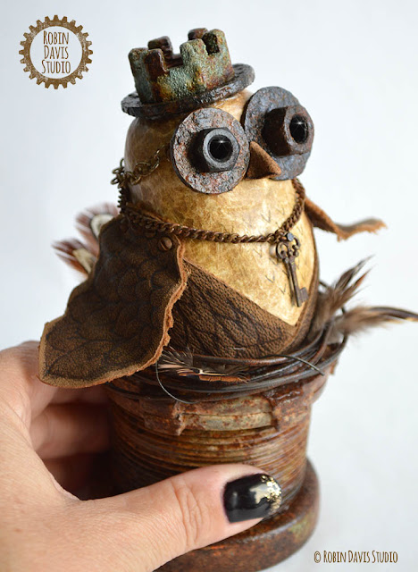 Steampunk Owl Sculpture by Robin Davis Studio