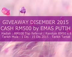 Giveaway Disember 2015 Cash RM500