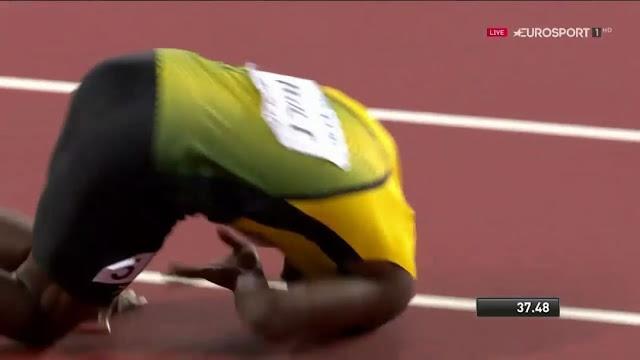 Usain Bolt falls, loses final career race