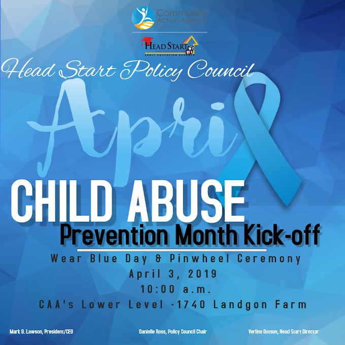 Child Abuse Prevention Month - Wear Blue Day & Pinwheel Ceremony - April 3, 2019, 10: 00 AM