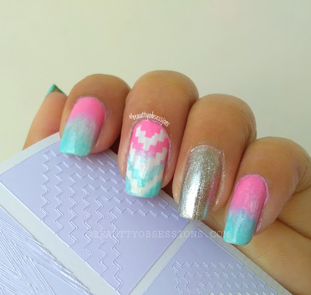 Ombre Nailart with Stencil | Pastel Pink-Blue Gradiant Nails