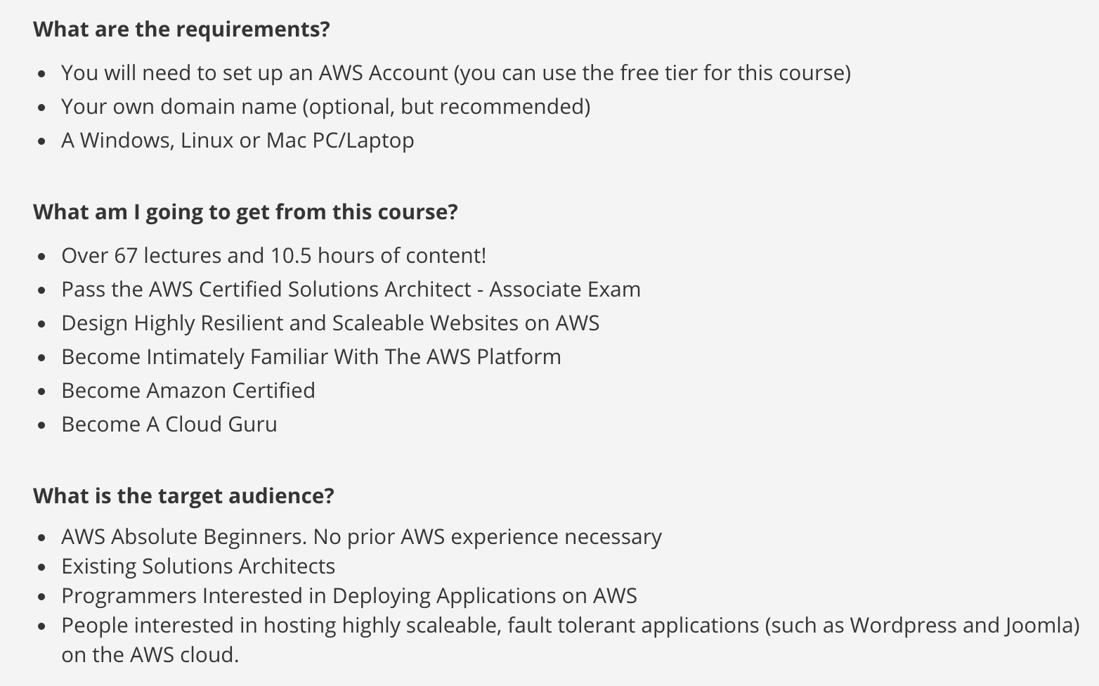 Amazon Web Services (AWS) Certifications Study Guide - List