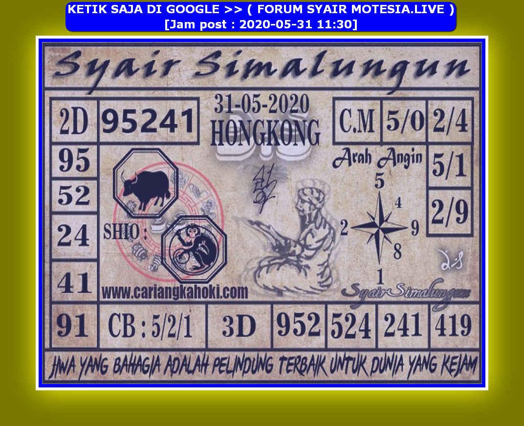 Kode syair Hongkong Minggu 31 Mei 2020 194