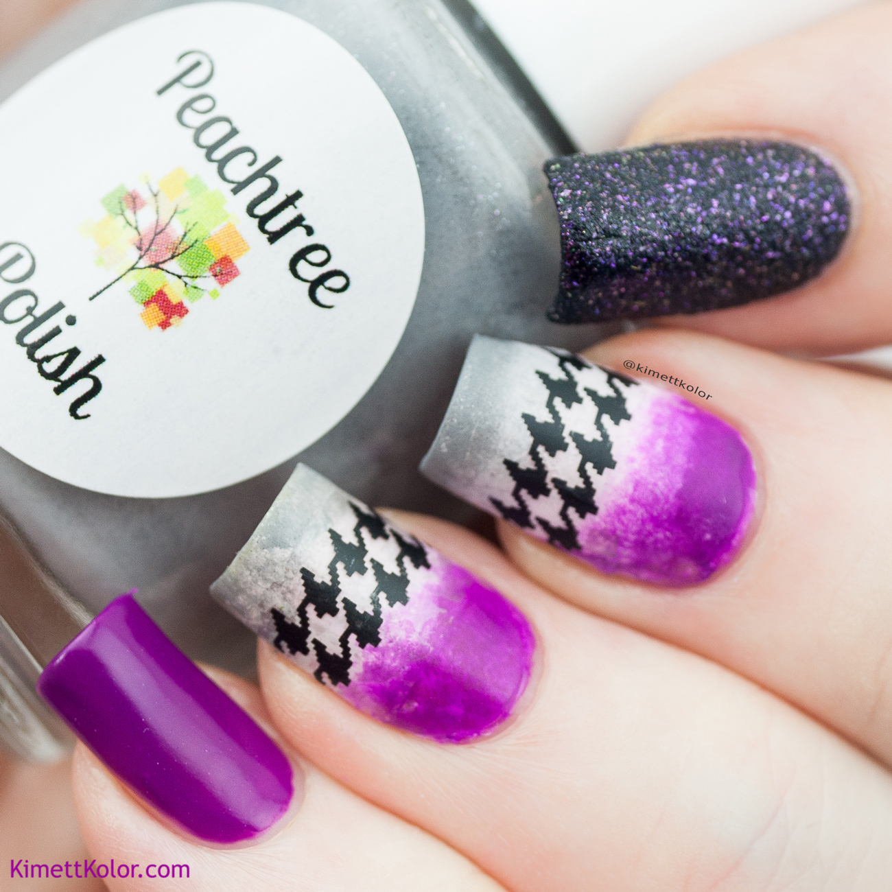 KimettKolor Purple and Houndstooth Nail Art