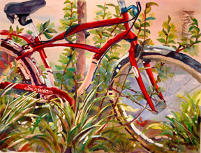 Bicycle entangled with plants