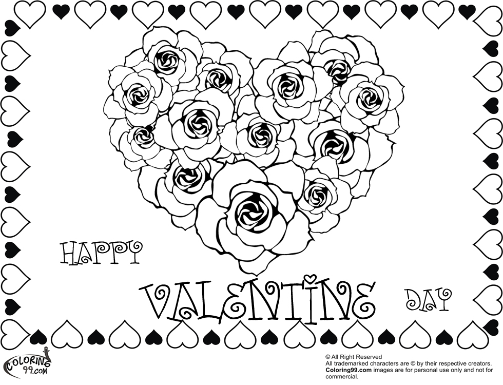 Coloring pages for adults roses and hearts ~ Rose Valentine Heart Coloring Pages | Team colors