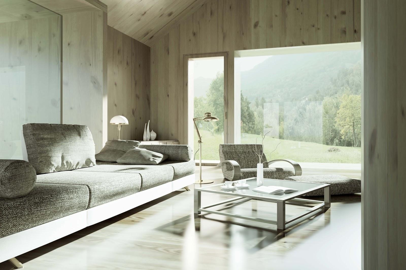 Interno naturale con legno a vista di Prima Casa Passiva