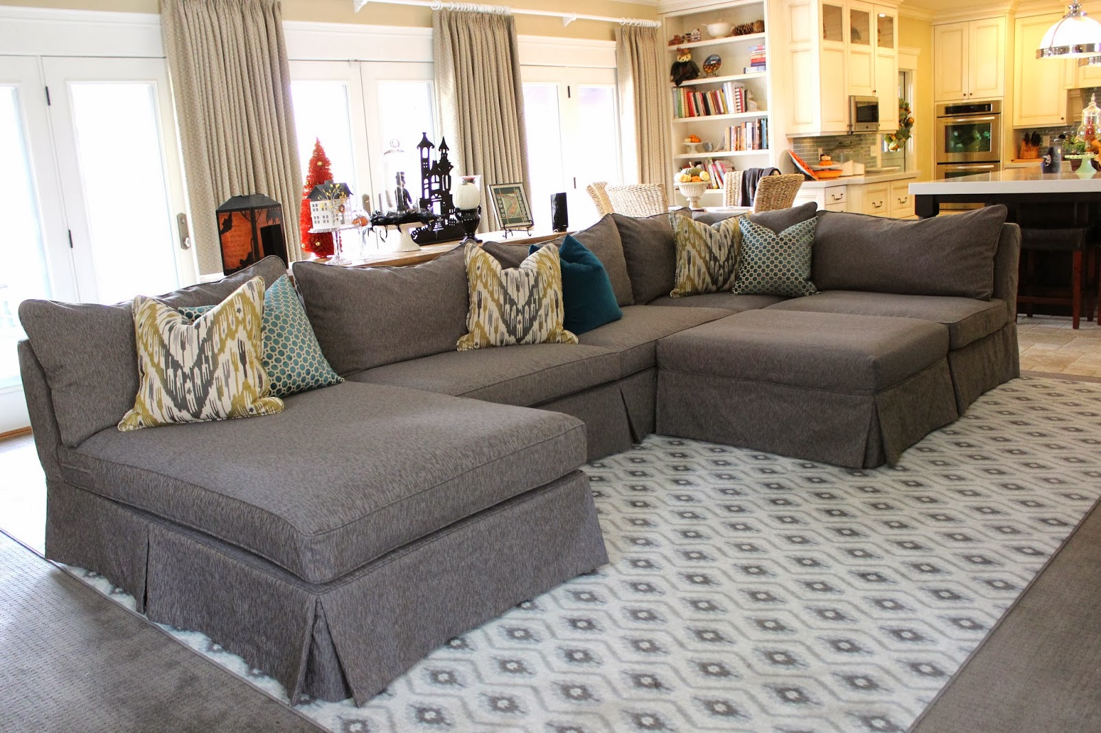 Custom slipcovers by shelley grey tweed sectional for What size sectional for my room