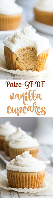 """Vanilla Cupcakes with """"Buttercream"""" Frosting {Paleo}"""
