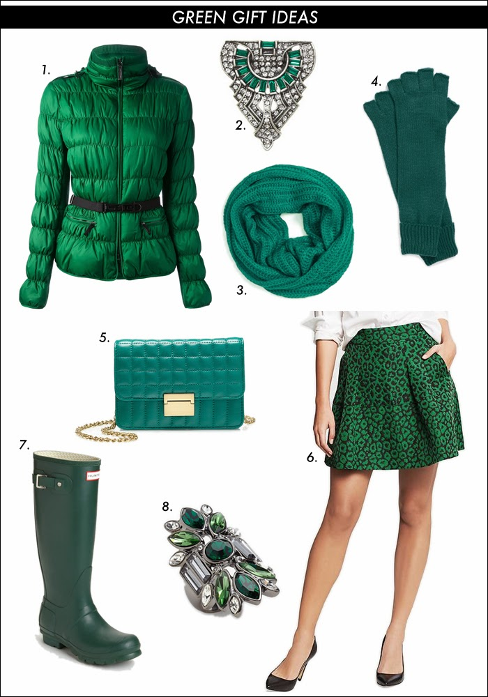 green gift ideas, green puffer jacket, burberry london, snood, crystal shoe clips, fingerless gloves, nordstrom, the limited, farfetch, gift ideas, hunter rain boots, green boots, what to buy 2013