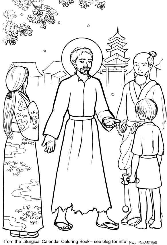 Snowflake Clockwork: St. Francis Xavier coloring page