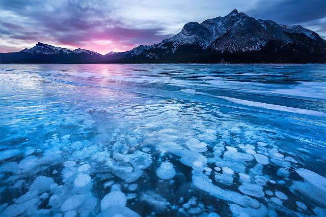 abraham lake bubbles canada