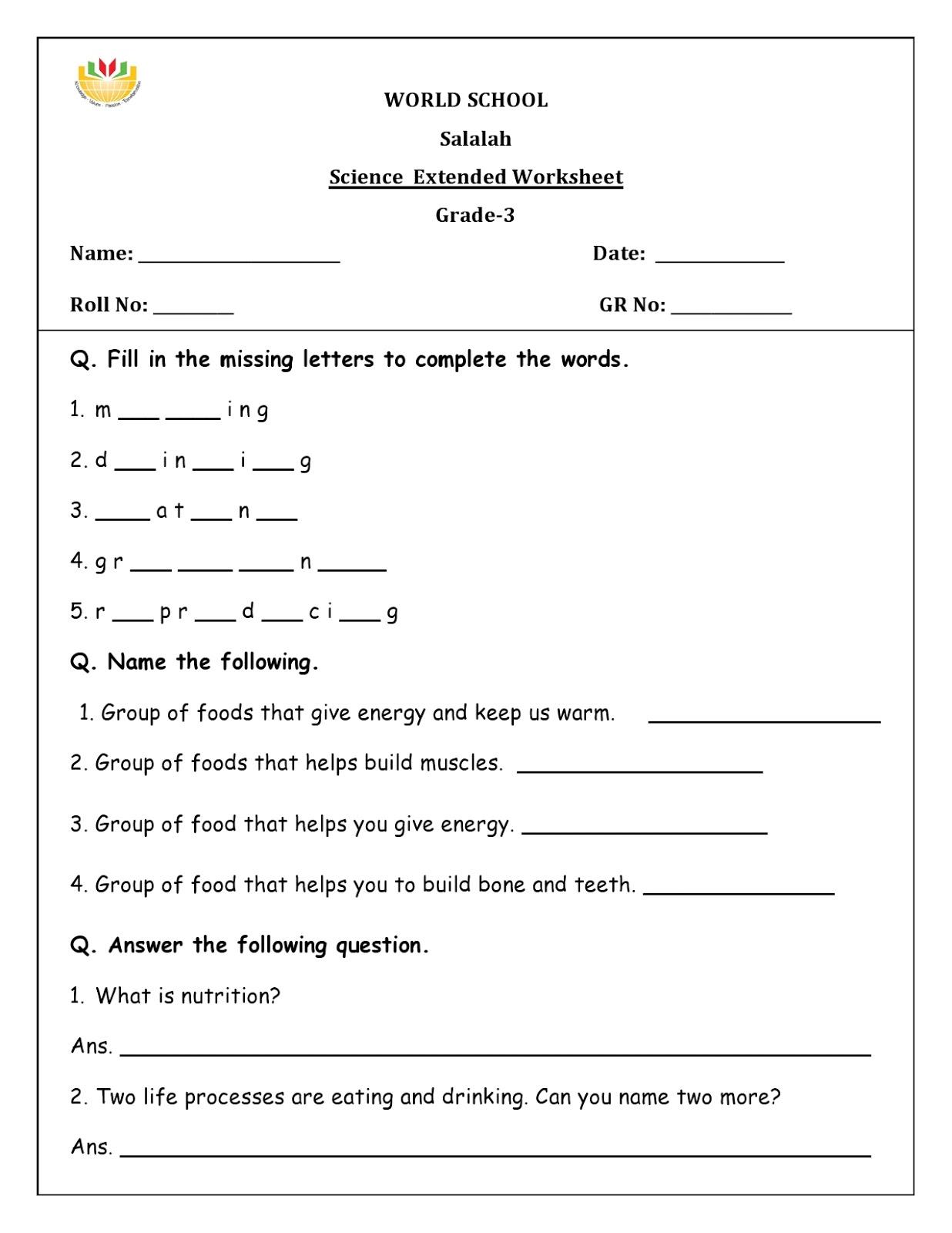 Homework for Grade 3 as on 26/04/2018 | WORLD SCHOOL OMAN