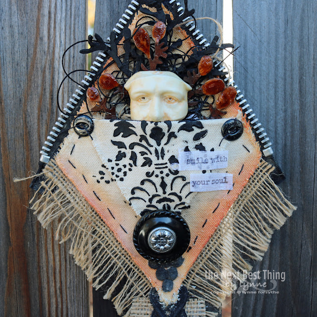 Smile Wall Hanging by Lynne Forsythe, UmWowStudio, The Crafter's Workshop, Canvas Corp Brands, Impression Obsession,  Tattered Angels, Relics and Artifacts